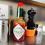 スパゲッツ ダンディ - デカ瓶タバスコ  カレー粉も使ってみたら味の変化が楽しめました