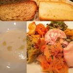 ビストロ レスト - 丸大根のスープ 自家製パン 前菜盛り合わせ