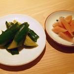 鮨 なかむら - 胡瓜浅漬け、生姜