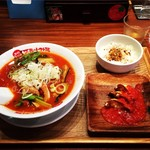 63571881 - 太陽のトマト麺、チーズ揚げ餃子、ちびリゾ