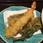 燙菜 - 地野菜のプレートセットの天ぷらです。