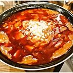 新潟 三宝亭 東京ラボ - 全とろ麻婆麺(+激辛) 1000+200円 激辛は辛さよりも痺れが強烈!辛増し+2くらいに抑えておいた方が良いかもです。