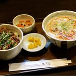 膳 - ミニ担々麺とミニ豚カルビ丼