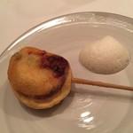 63595269 - 菜の花とホタテのムース 泡ソースコキヤージュ