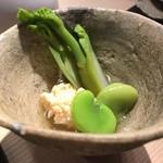 第三春美鮨 - たらの芽、空豆と鯛子
