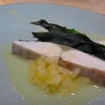 63639388 - ◆魚料理・・この日は「鰆」。 この時期の鰆は上品な脂を感じ美味しいですね。文旦ソースの軽い酸味と甘みが合います。