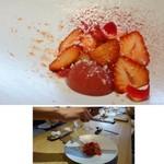 63639430 - ◆あまおうとマスカルポーネのコントラスト。 「あまおう」の下には「マスカルポーネチーズ」、添えられているのは「イチゴのジュレ」