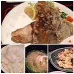 四季の味処 髭ダルマ - 鰈のから揚げが身も多く美味しいですよ。 ご飯も普通に美味しいかしら。 お味噌汁には「玉ねぎ」が入っていました。