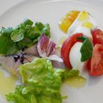 Cucina del NABUCCO - 炙りハマチのカルパッチョ、自家製モッツァレラとリコッタチーズのカプレーゼ