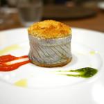 63659235 - 太刀魚のベッカフィーコ パプリカのソース、サルサ ヴェルデ、オレンジの香り