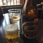 63660108 - ビールとお冷で乾杯(⌒▽⌒)