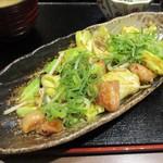 """九州博多料理 もつ鍋 幸 - """"牛ホルモン味噌炒め定食"""" の 牛ホルモン味噌炒め。"""