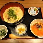 九州博多料理 もつ鍋 幸 - ランチの 胡麻味噌ちゃんぽん と ミニいくら丼 定食 1,380円(税込)。