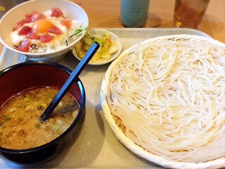 天茶屋 七蔵 - 山かけ月見丼の小うどんセット1100円