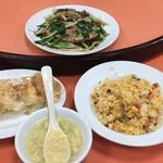 63676059 - 五目炒飯+レバニラ+羽根つき餃子