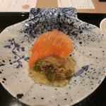 63677865 - 赤貝・ホタテ・松葉菜・うるいの土佐酢ジュレかけ