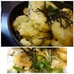 まことうどん - ◆野菜天は「玉葱」「ビーマン」「茄子」「カボチャ」など。どれも大きめのカット。ツユは甘めですが好みのテイストで、「玉ねぎ」「ネギ」が入っているのもいいかも。
