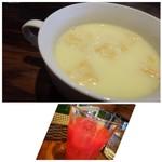 ノムカ+cafe - ◆最初に「コーンスープ」、、これはよくある味わいでした。 ◆ブラッドオレンジジュース。爽やかな味わいで好きなのです。