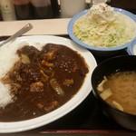 松屋 - ビーフカレー ポテトサラダ 卵