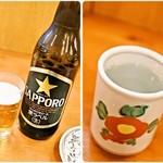 かぶき - ビール(大瓶)黒ラベル 650円&芋焼酎お湯割り 480円