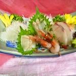 楽膳 - ある日のお刺身五点盛合980円