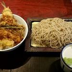 いわもとQ - 天丼セット❗そば大盛‼