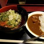 蓼科 - ミニカレーと天ぷらそばセット690円 2017.3