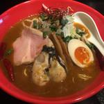 63768550 - 赤辛鶏白湯そば 牡蠣トッピング(1,300円)2017.3