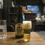 炭焼漁師小屋料理 渋谷東急本店前のひもの屋 - サッポロラガー
