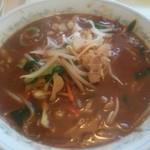 三昧井 - 味噌ラーメンです、赤みそベースの濃いスープ、具沢山でうーまーいーぞー!