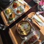 カフェ ドーン - 焼きチーズカレーと3色スパゲッティー