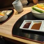 63806898 - 生野菜づティックと串カツ用の味付け3種