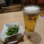 広島風お好み焼き れもん - 生ビール&枝豆 2017年3月
