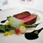 レストラン アルシミスト - 茨城産窒息鴨のロースト イカ墨のソース