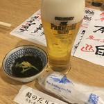 鮨 だり半 - 生ビール お通し