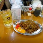 福ちゃん - 緑茶ハイ350円、カレー焼きそば450円+生卵50円
