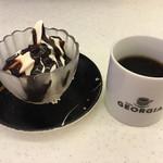 能登 さと海 - ソフトクリーム(チョコ掛け)・ホットコーヒー