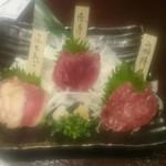 三代目網元 魚鮮水産 - 馬刺の盛り合わせ