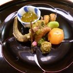 味 ふくしま - 八寸 もろこの南蛮漬け 鰻の八幡巻 新もずく 蛸のジュレ掛け 空豆 蕗のとう味噌 金柑