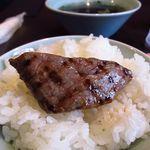 トラヤ - 宮崎牛焼肉ランチ ¥1800 の上カルビ 脂はキレ良くサッと溶け後味を引かないのに肉の余韻は強く残る、美味いなぁ