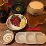 揚旬 - 本マグロの刺身と生ビール