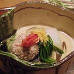 63848155 - うづらのツミレ、京菊名、京人参、柚子炊き合わせ