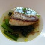 63849529 - 白身魚のポワレ with チキンブイヨンスープ