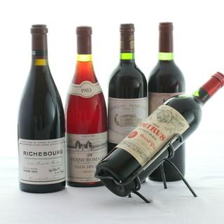 豊富なワインリストが充実。記念年ワインやヴィンテージワインも
