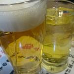 うみブタ - 生ビール(300円)緑茶割り(380円)