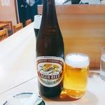 豊島屋 - 瓶ビールは中瓶で450円(税込)。