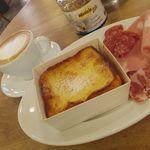 パンとエスプレッソと - フレンチトーストセット ハムセット カフェラテ