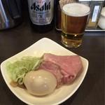 麺屋りゅう - おつまみ皿 + ビール