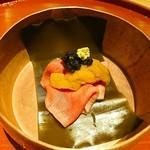 肉屋 雪月花 NAGOYA - たん昆布〆 北海道雲丹・ベルーガキャビアを添えて