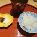 肉屋 雪月花 NAGOYA - 南魚沼産こしひかり、味噌汁、香の物